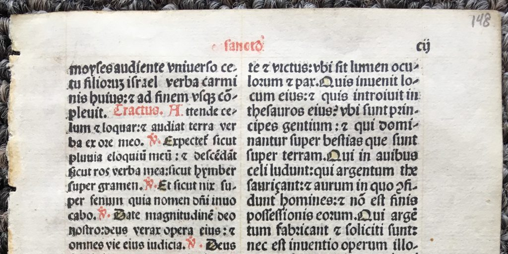 J. S. Wagner Collection, Single Leaf from a Latin Missal containing part of the Mass for Holy Saturday for use in a Carmelite Monastery, printed in 1509 Lucantonio Giunta in Venice. Recto, detail: Top Portion. Reproduced by Permission.