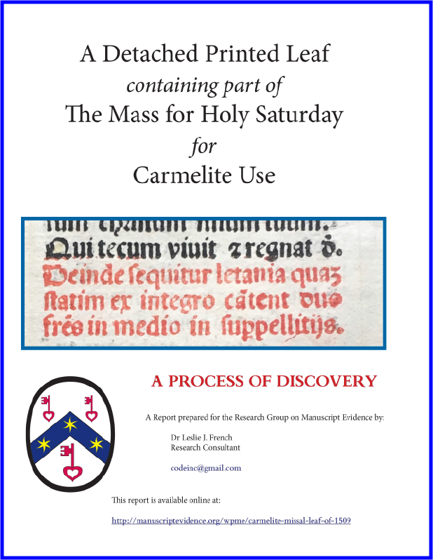 """Cover Page for Booklet on """"A Detached Printed Leaf containing part of The Mass for Holy Saturday for Carmelite Use"""" by Leslie J. French (Research Group on Manuscript Evidence, 2020)"""