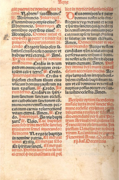 Florence, Biblioteca Nazionale, Missale Romanum printed by Lucantonio Giunta (1501), End-page.  Image via Creative Commons.