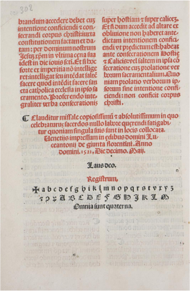 Florence, Biblioteca Nazionale, Missale Romanum printed by Lucantonio Giunta (1521), End Page with Colophon. Image via Creative Commons.
