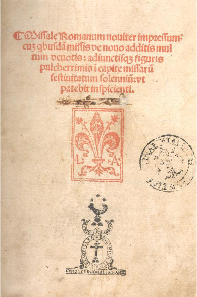 Florence, Biblioteca Nazionale, Missale Romanum printed by Lucantonio Giunta (1501), Title-page. Image via Creative Commons.