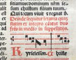 J. S. Wagner Collection, Early-Printed Missal Leaf, Verso. Rubric and Music for Holy Saturday. Reproduced by Permission.