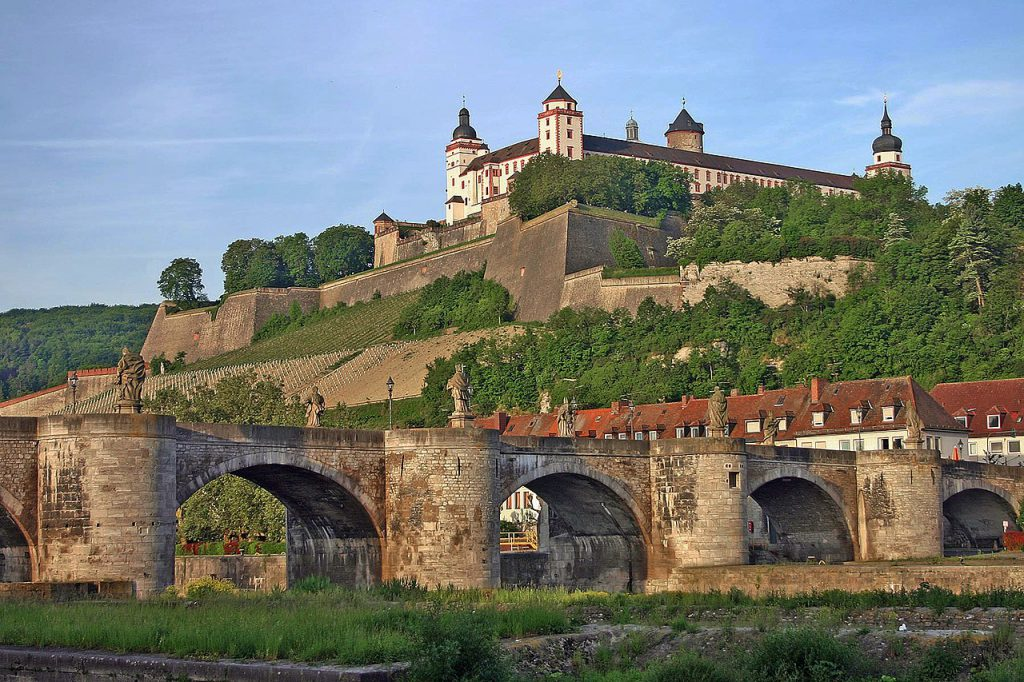 Marienberg Fortress and Old Bridge at Würzburg. Photograph By Christian Horvat. Own work, Public Domain, via https://commons.wikimedia.org/w/index.php?curid=167812