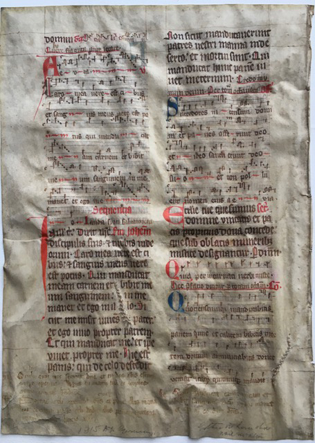 J. S. Wagner Collection, Leaf from Ege Manuscript 22, verso. Reproduced by permission.