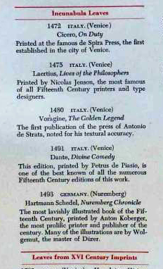 Private Collection, Ege FBNC Contents List, Detail: Incunabula.