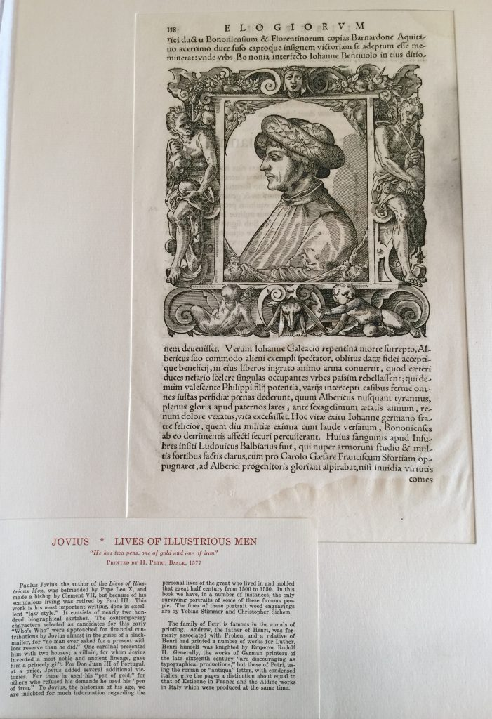 Private Collection, Ege's Portfolio of Famous Books in Nine Centuries, Jovius, Illustrious Men (1577) Specimen Front in mat. Reproduced by Permission.