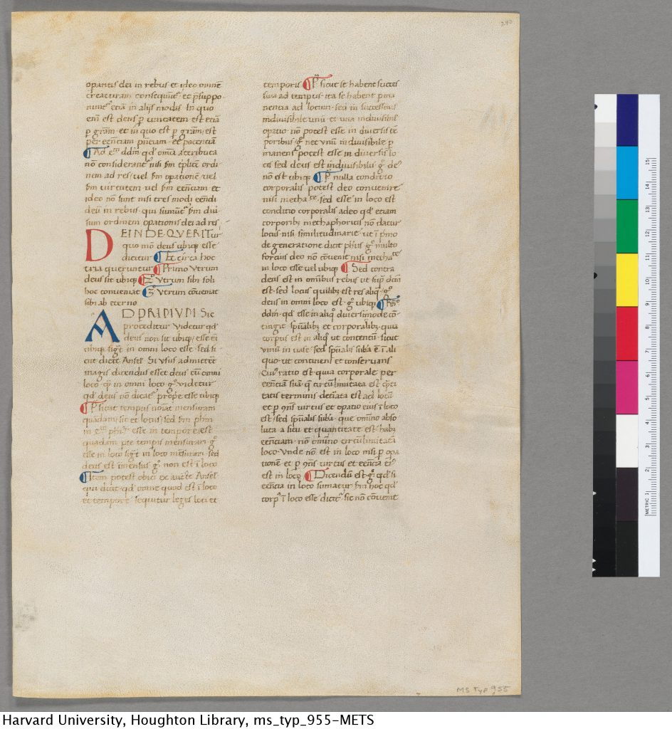 Harvard University, Houghton Library, MS Typ 995, recto = Ege MS 40, folio 243 recto.