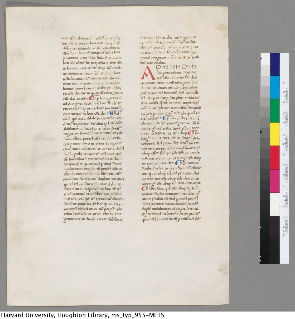 Ege MS 40, folio 243 verso. Harvard University, Houghton Library, MS Typ 955, verso.