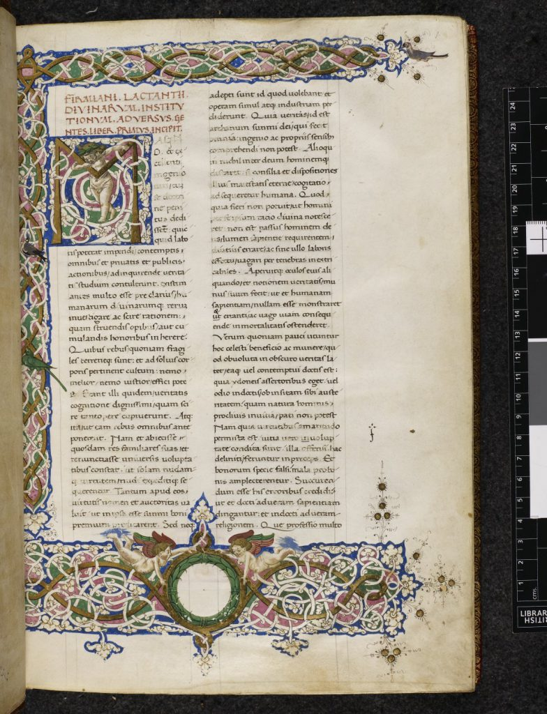 © The British Library Board. Harley MS 3110, folio 1r. Opening of Lacantius's Divinae institutiones.