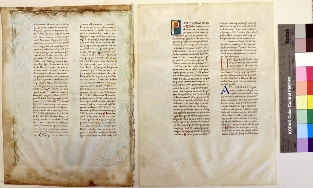 Beinecke Rare Book & Manuscript Library, Otto Ege Collection, FOL Set 3, MS 40, Specimens 1 and 2, with folios '1'v and 216v. Photography Mildred Budny.