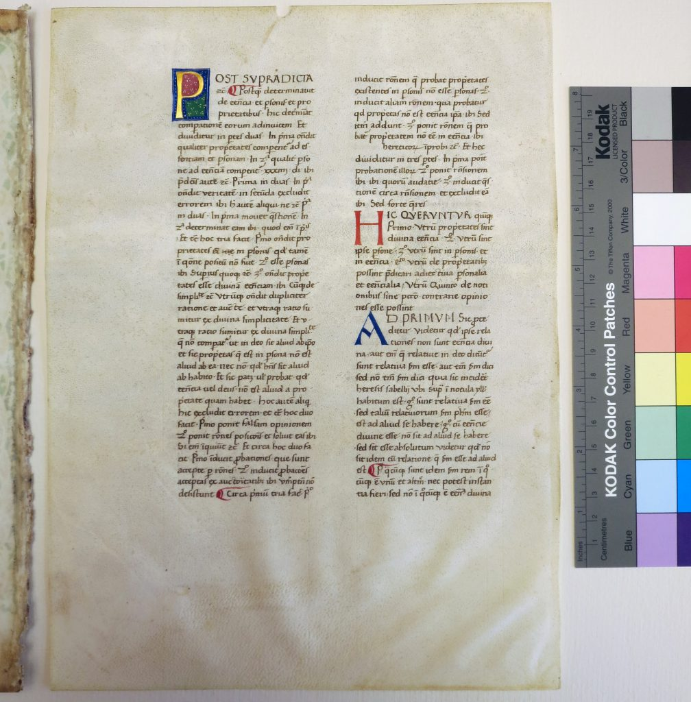 Beinecke Rare Book & Manuscript Library, Otto Ege Collection, FOL Set 3, MS 40, Specimen 2 = folio 216v (turned to the front in Ege's Mount. Photography Mildred Budny.