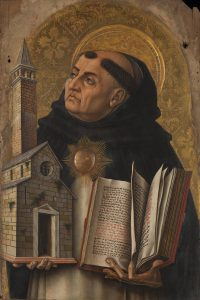 London, National Gallery, Demidoff Altarpiece, Detail: Thomas Aquinas. Panel painting by Carlo Crivelli for the Church of San Dominico at Ascoli Piceno. Image in the Public Domain, via Wikimedia Commons.