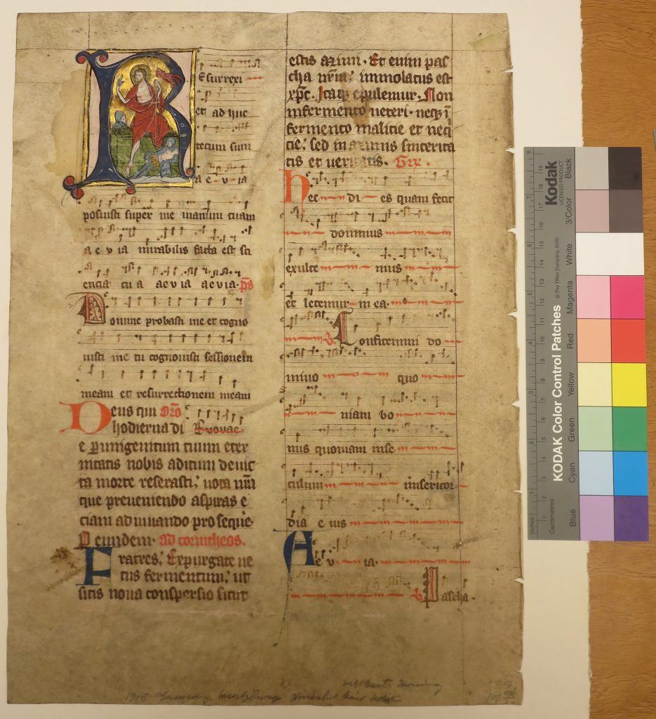 Beinecke Rare Book & Manuscript Library, Otto Ege Collection, FOL Set 3, Leaf 22. original verso revealed under mat. Photography Mildred Budny.