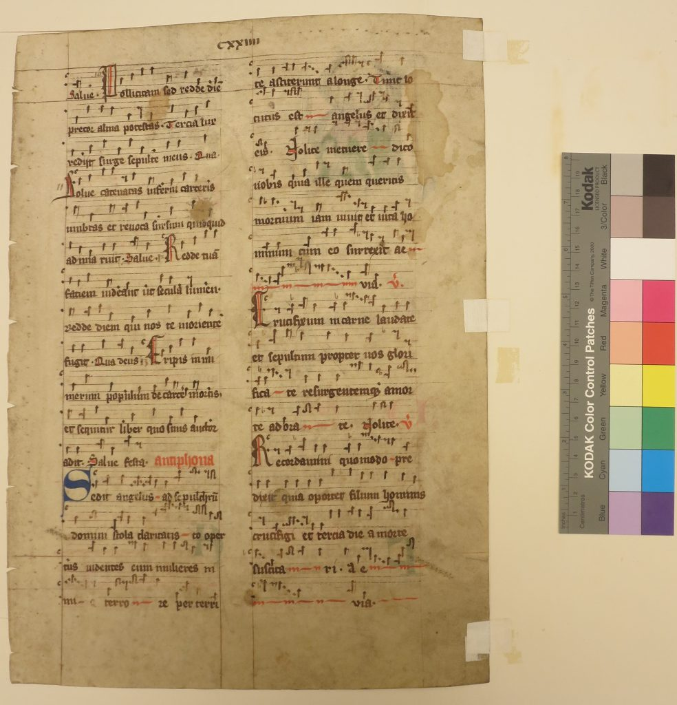 Beinecke Rare Book & Manuscript Library, Otto Ege Collection, FOL Set 3, Leaf 22. original recto, with Ege's mounting tapes. Photography Mildred Budny.