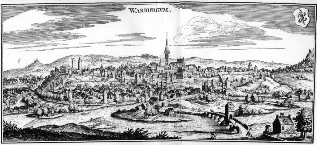 The City of Warburg, in an engraving by Matthäus Merian for the Topographia Westphaliae (= Topographia Germaniae, Volume 8) published 1647. Image Public Domain.