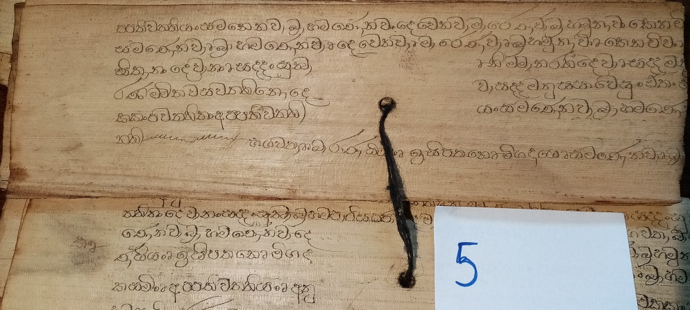 Private Collection, Sinhalese Palm-Leaf Manuscript, Leaf 5 Reproduced by Permission.