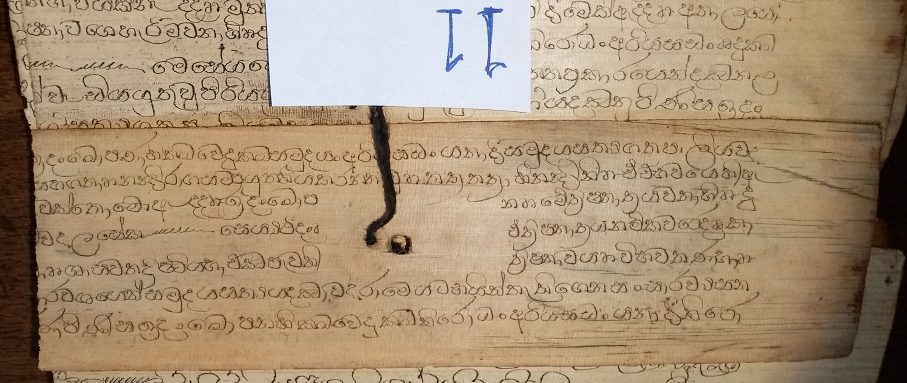 Private Collection, Sinhalese Palm-Leaf Manuscript, Leaf '11', Side 1. Reproduced by Permission.