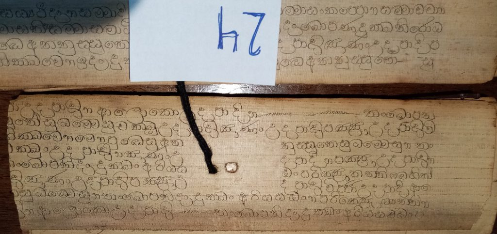 Private Collection, Sinhalese Palm-Leaf Manuscript, Leaf 24, Side 1. Reproduced by Permission.