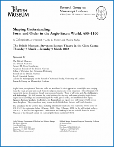 2002 'Form and Order in the Anglo-Saxon World' Colloquium Poster