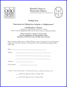 2003 'Innovations for Editing' Colloquium Booking Form
