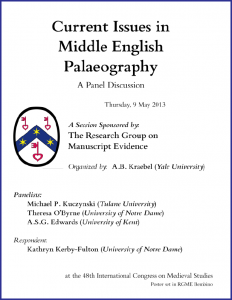 2013 RGME Sessions Poster 1 'Current Issues in Middle English Palaeography'