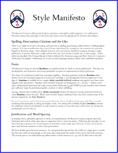 2015 'Style Manifesto' version April 2015 page 1